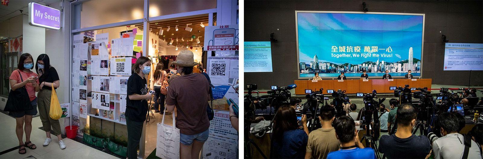 Esquerda: Eleitores aguardam à porta de uma loja de roupa interior que hoje tem mesas de ...