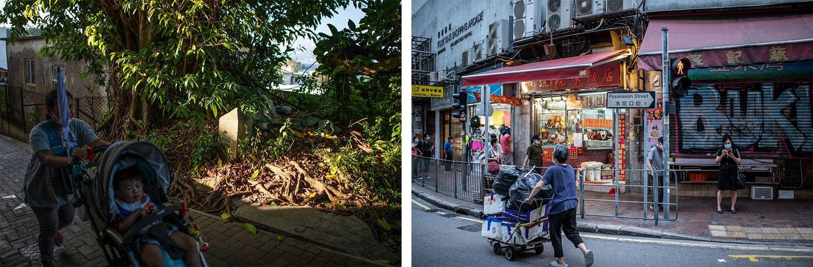 Esquerda: Pessoas passam por uma das pedras de fronteira na Ilha Cheung Chau, pedras que foram ...