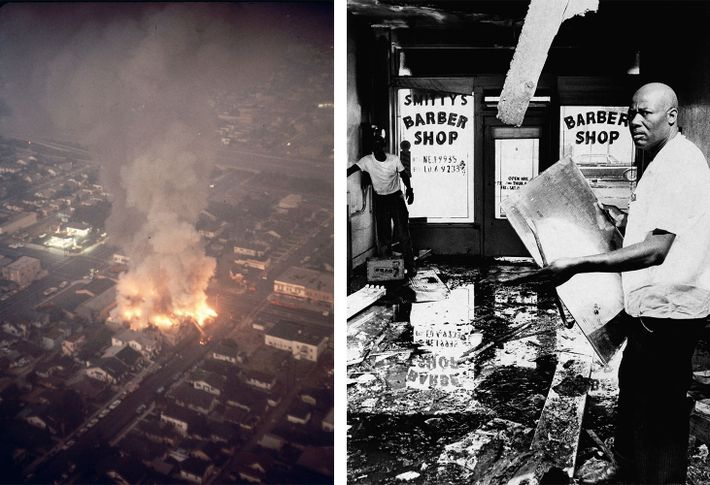 Esquerda: A rebelião de Watts estendeu-se ao longo de 75 quilómetros. Cerca de 14 mil agentes ...