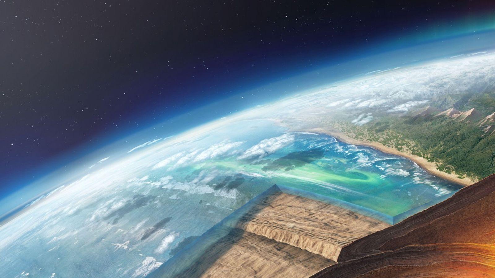 Uma placa oceânica a mergulhar debaixo de outra, numa ilustração de uma zona de subdução. Estudos ...