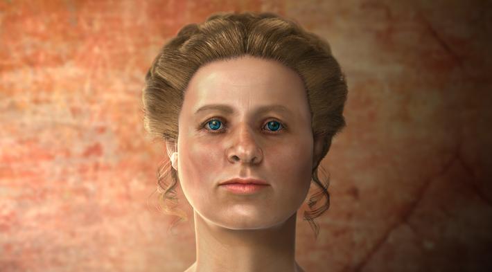 Aproximação facial de uma mulher do Império Romano.