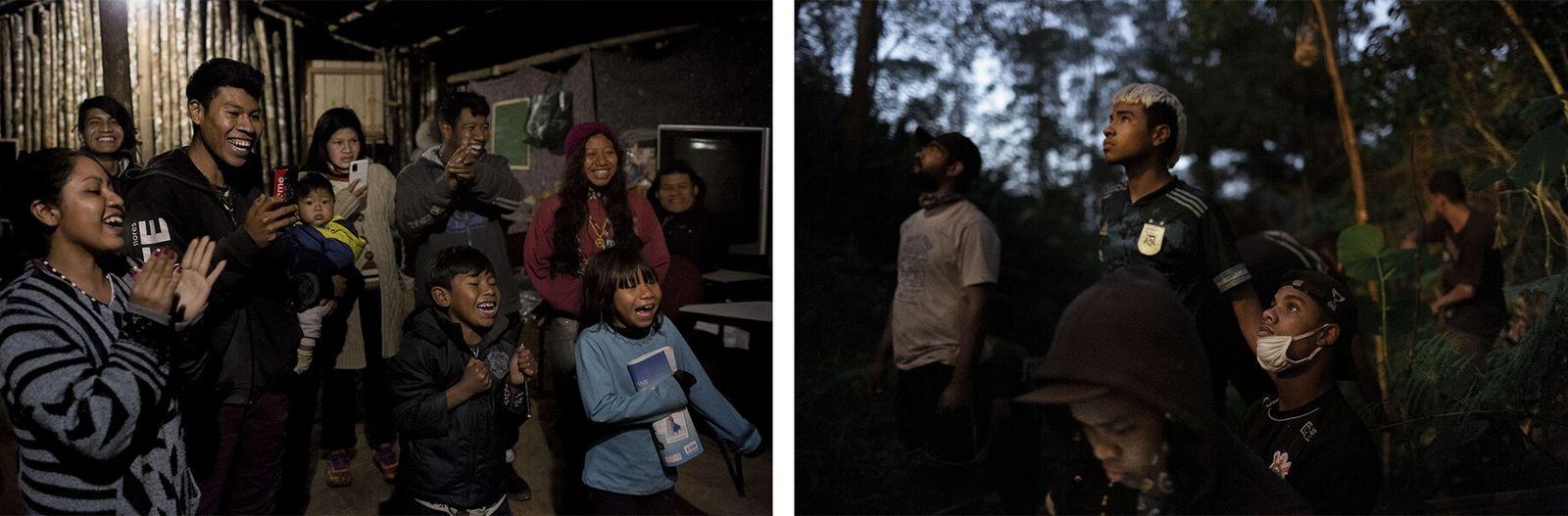 Esquerda: A comunidade celebra um aniversário em Guyra Pepó, uma aldeia no interior para onde se ...