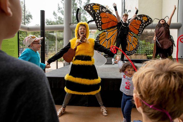 Na Feira de Insetos, os adultos vestidos de abelha, borboleta e barata fazem uma peça para ...
