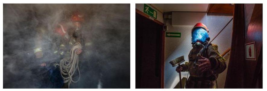 Esquerda: Susanne Spahic (à esquerda) e Till Dürrenberger, com fatos completos de combate a incêndios, treinam ...