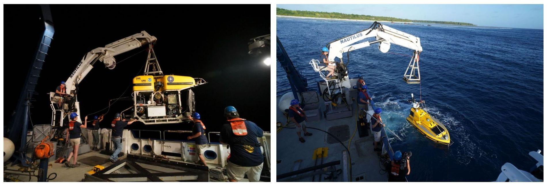 Esquerda: Um veículo operado remotamente, chamado Hercules, é lançado do convés do Nautilus. O ROV é ...