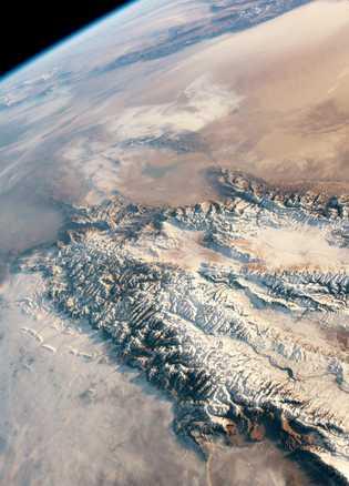 Ásia Central vista do espaço