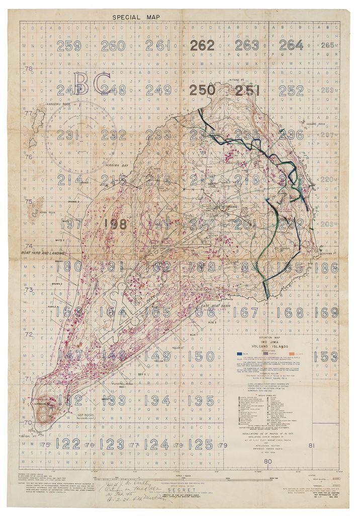 """Um """"Mapa de Alvos Especiais Aéreos e de Artilharia"""", compilado a partir de fotografias aéreas de ..."""