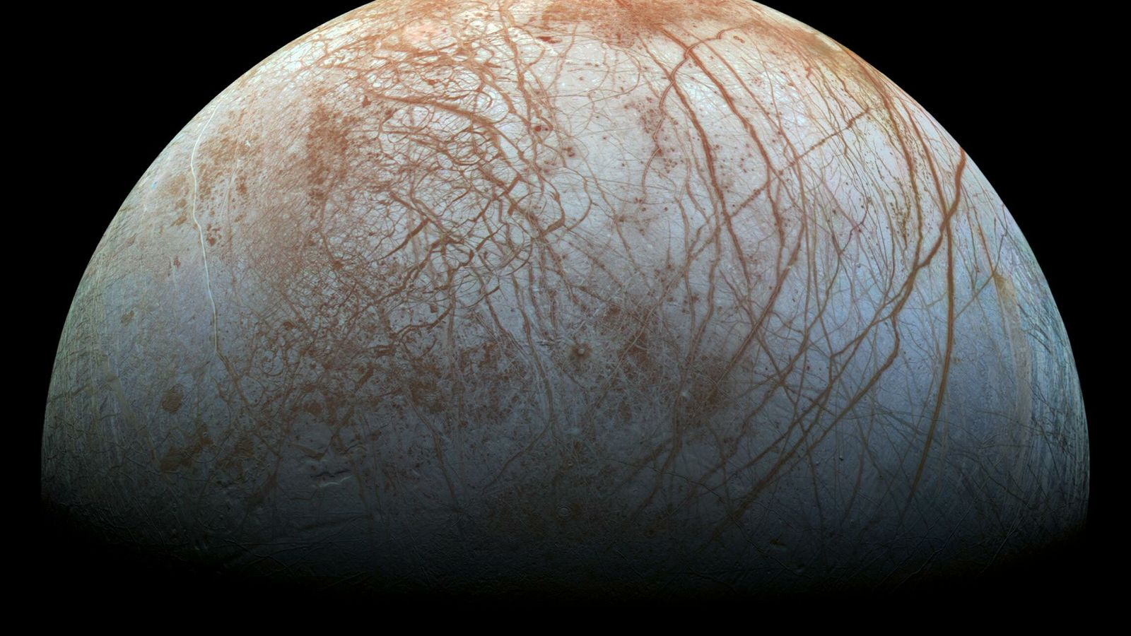 Europa, uma das luas de Júpiter descobertas por Galileu no século XVII e a sexta maior ...