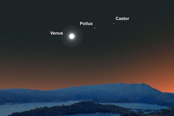 Um Vénus luminoso alinhar-se-á com as duas estrelas gémeas da constelação de Gémeos.