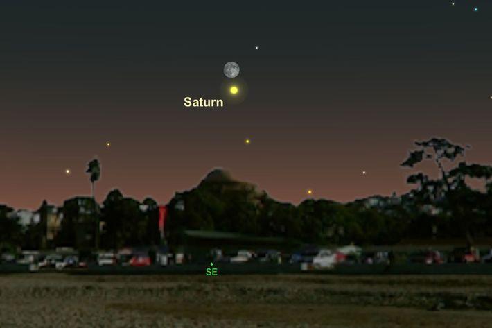 Saturno e a Lua estarão próximas do horizonte.