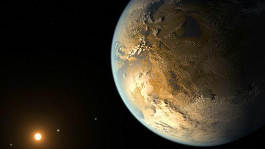 Esta ilustração retrata Kepler-186f, o primeiro planeta validado do tamanho da Terra a orbitar uma estrela ...