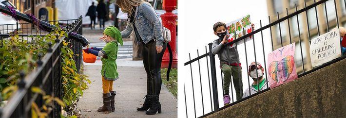 Esquerda: Uma criança recebe as suas guloseimas de Halloween de forma socialmente distante na cidade de ...