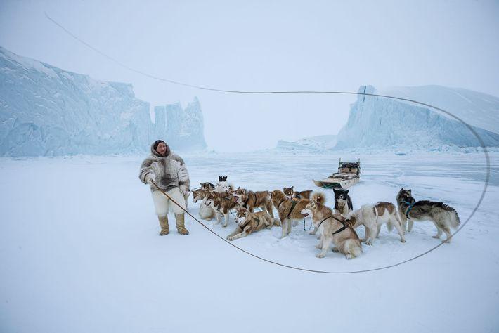 Esta fotografia tirada por Paul Nicklen de Naimanngitsoq Kristiansen, um inuíte no noroeste da Gronelândia, junto ...
