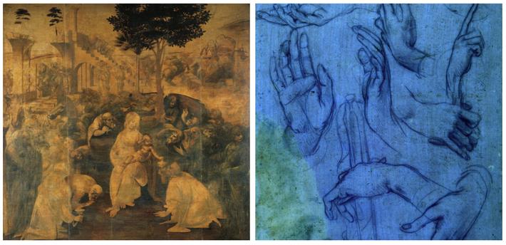 Esquerda: Leonardo fez inúmeros estudos de preparação para as suas pinturas, incluindo estudos para o inacabado ...
