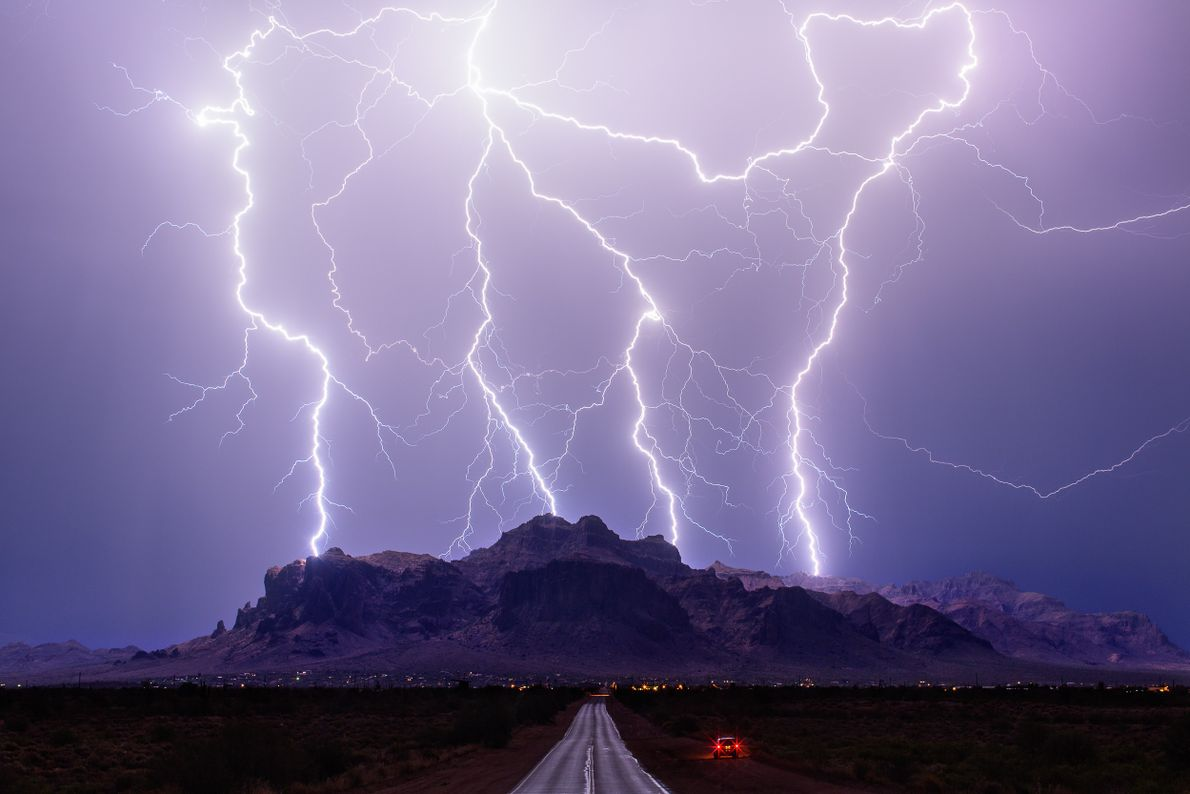 Lightning snakes across the sky over the Superstition Mountains in Arizona in 2015. Olbinski considers this ...