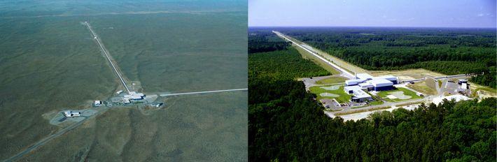 Observatório de ondas gravitacionais LIGO (Laser Interferometer Gravitational-Wave Observatory). O LIGO é composto por dois interferómetros ...