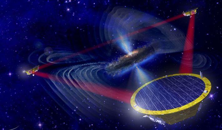 Representação artística da missão LISA (Laser Interferometer Space Antenna). Em 2034, a Agência Espacial Europeia (ESA), ...