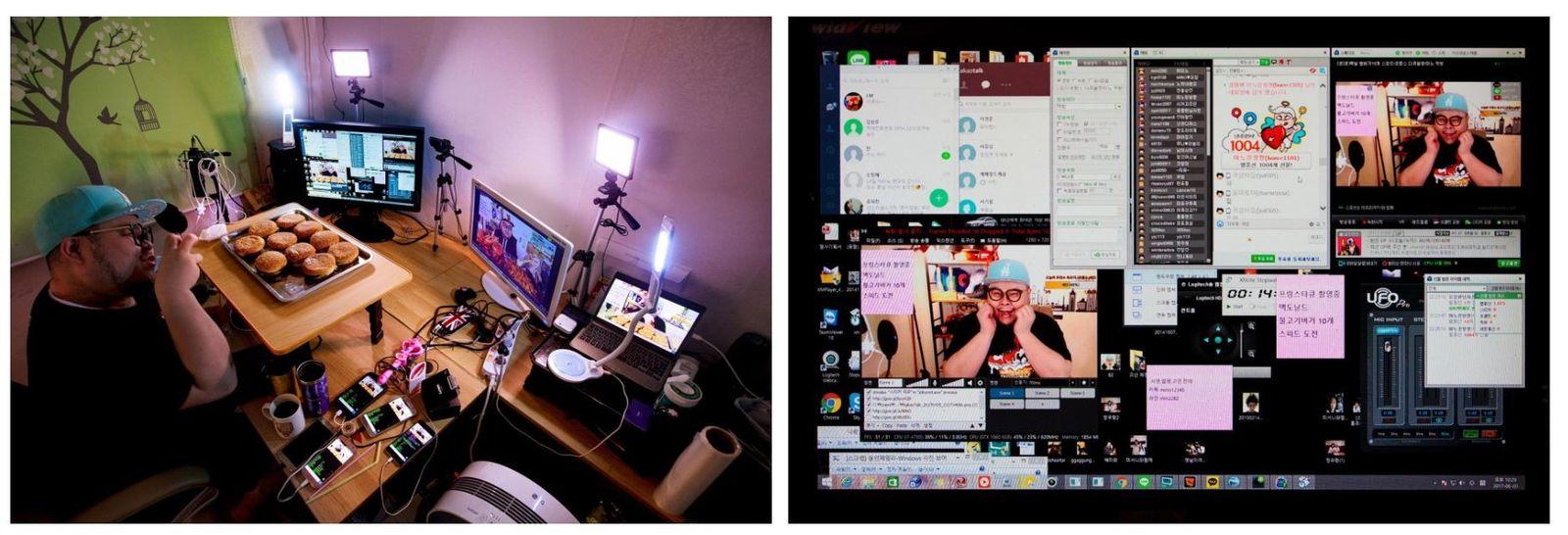 Esquerda: Huh Mino prepara-se para comer ao vivo no seu apartamento, em Seul, na Coreia do ...