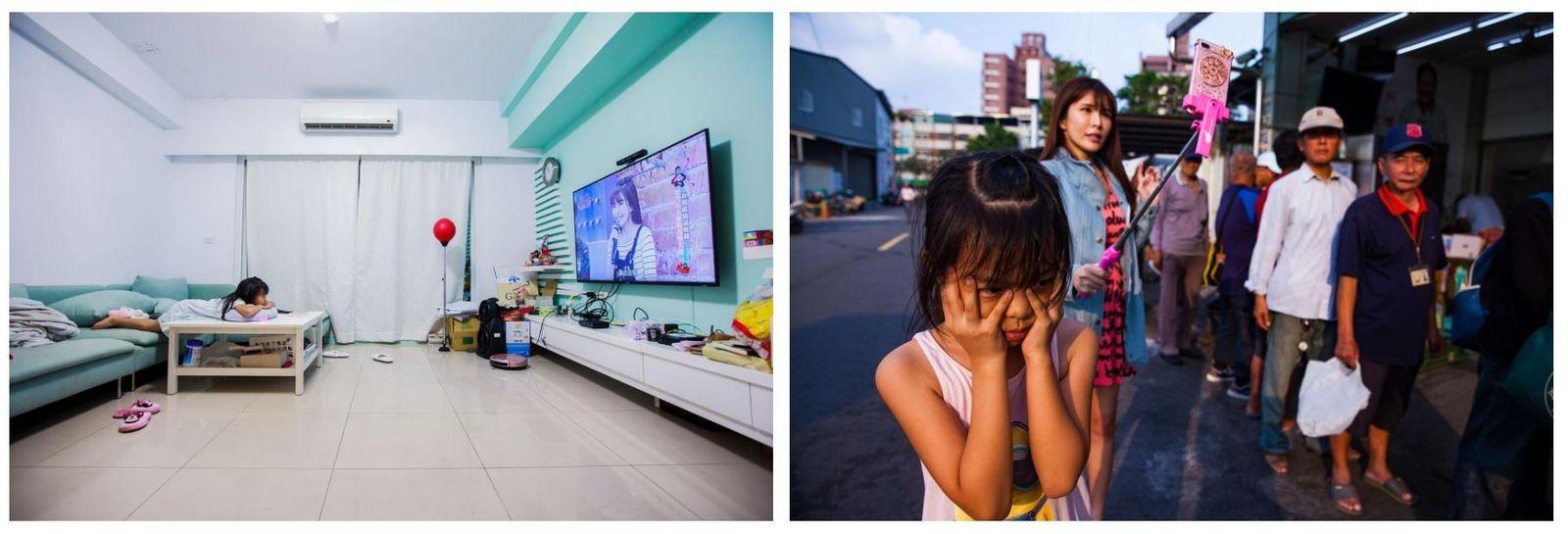 Esquerda: Mong Mong, filha de Lala, vê a mãe na televisão. Devido às horas que trabalha, ...