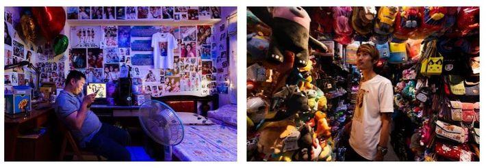 Esquerda: Kongto no seu quarto a assistir a um live stream de Yutong, a sua streamer ...