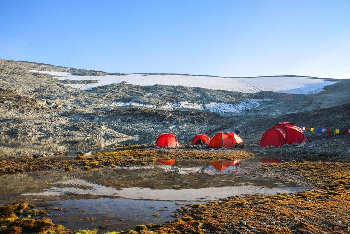 Em 2018, os arqueólogos estabeleceram o seu acampamento base em frente à mancha de gelo de ...