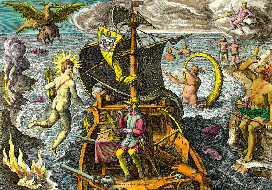 Uma gravura do século XVI mostra Magalhães cercado de figuras mitológicas e animais fantásticos, e também ...