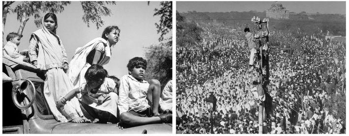 Após o assassinato de Gandhi, em 1948, as crianças subiram para cima dos carros e os ...