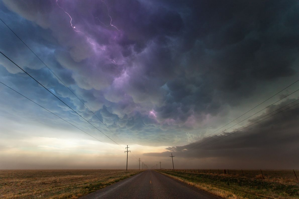 A heavy curtain of lightning-streaked mammatus hangs over the Texas Panhandle in 2013.
