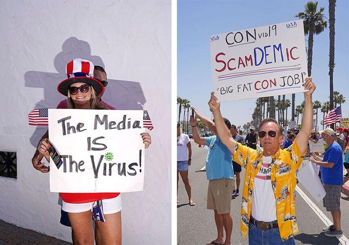 Esquerda: Uma manifestante num comício pró-Trump em San Clemente, na Califórnia, no dia 3 de outubro ...