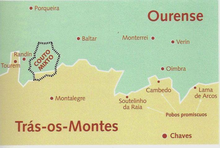 Localização do Couto Misto, entre os séculos XII e XIX, entre Portugal e Espanha.