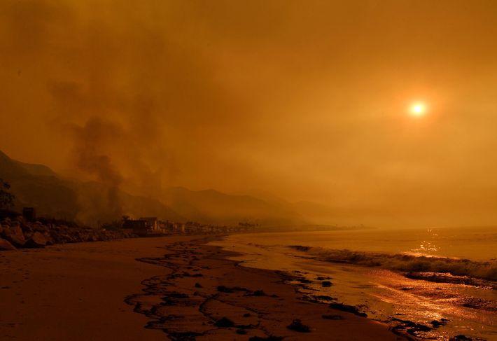 Fumo envolve a praia de Mondos, perto de Ventura, na Califórnia, em 2017. Os golfinhos e ...