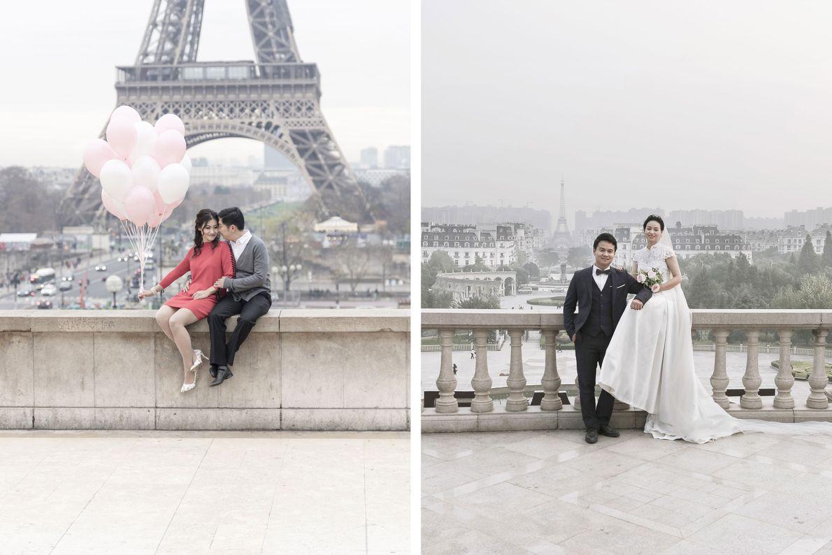 Noivos e Torre Eiffel ao fundo