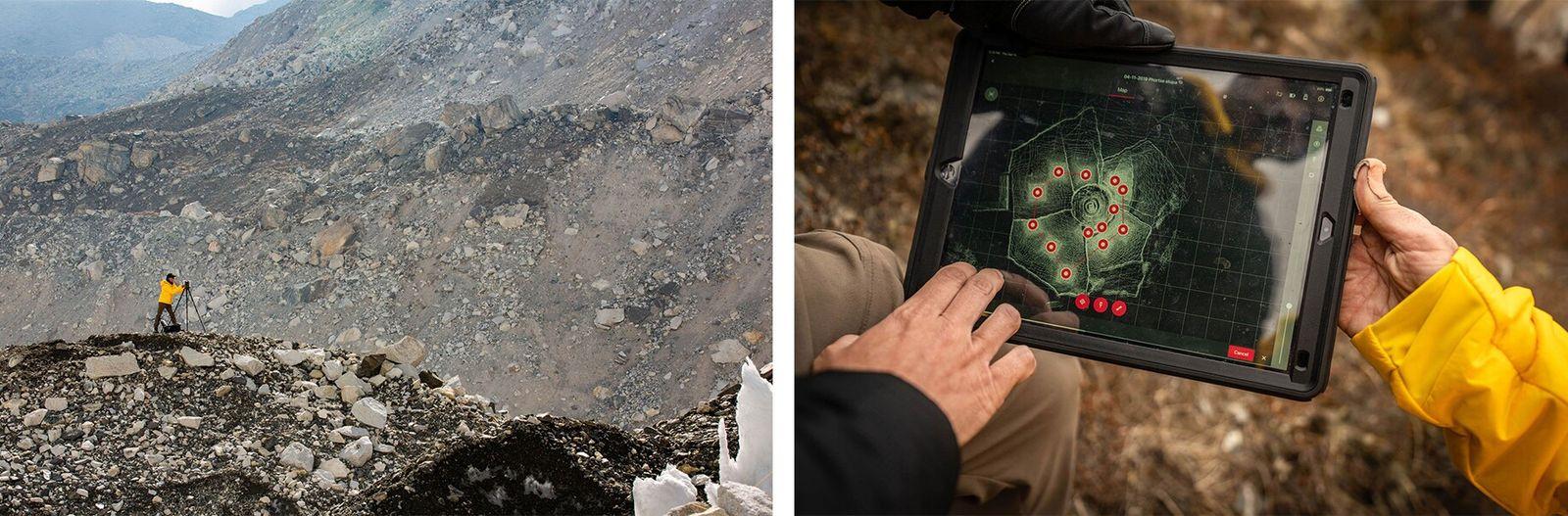Esquerda: Alex Tait, geógrafo da National Geographic Society, usa a tecnologia LIDAR, uma forma de varredura ...