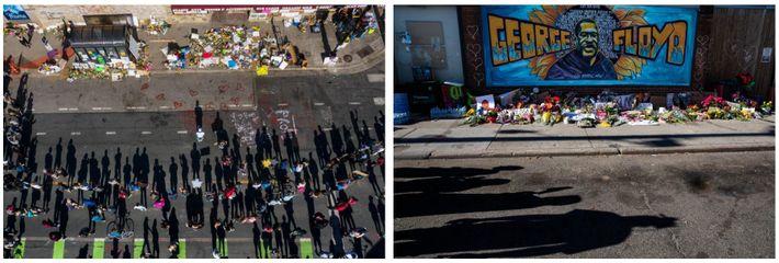 Esquerda: A rua onde George Floyd morreu foi pintada com giz e coberta de memoriais improvisados. ...