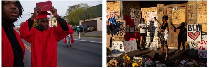 Esquerda: Datelle Straub mostra o seu diploma enquanto a polícia se aproxima dos manifestantes. Ele e ...