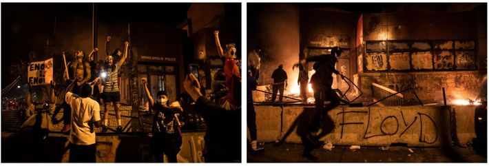 Na quinta-feira à noite, os manifestantes incendiaram a 3ª Esquadra, queimaram veículos nas ruas e edifícios ...