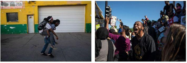 Esquerda: Um homem transporta um amigo ferido que foi atingido por balas de borracha disparadas pela ...