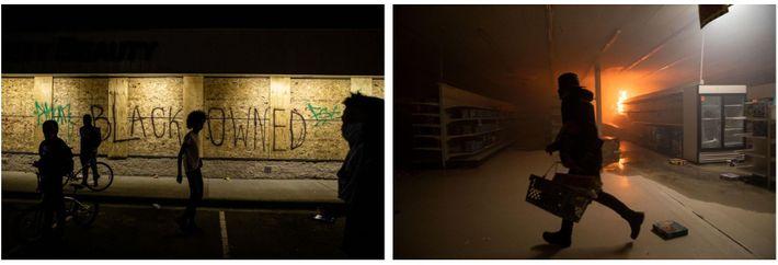 Esquerda: Uma empresa coberta de tábuas faz um pedido de proteção, enquanto os manifestantes partem janelas, ...