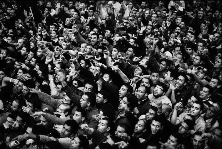 Partidários da Irmandade Muçulmana a bloquear o acesso ao Parlamento. Cairo, Egito. De janeiro de 2012.