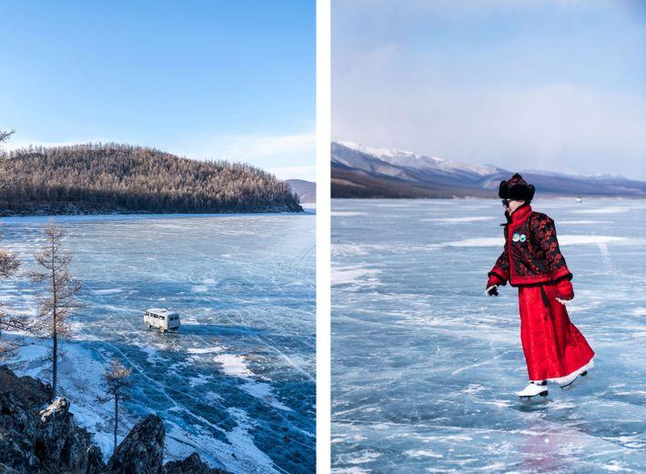 Esquerda: As temperaturas podem cair abaixo dos 14 graus negativos. Direita: Um folião patina no lago ...
