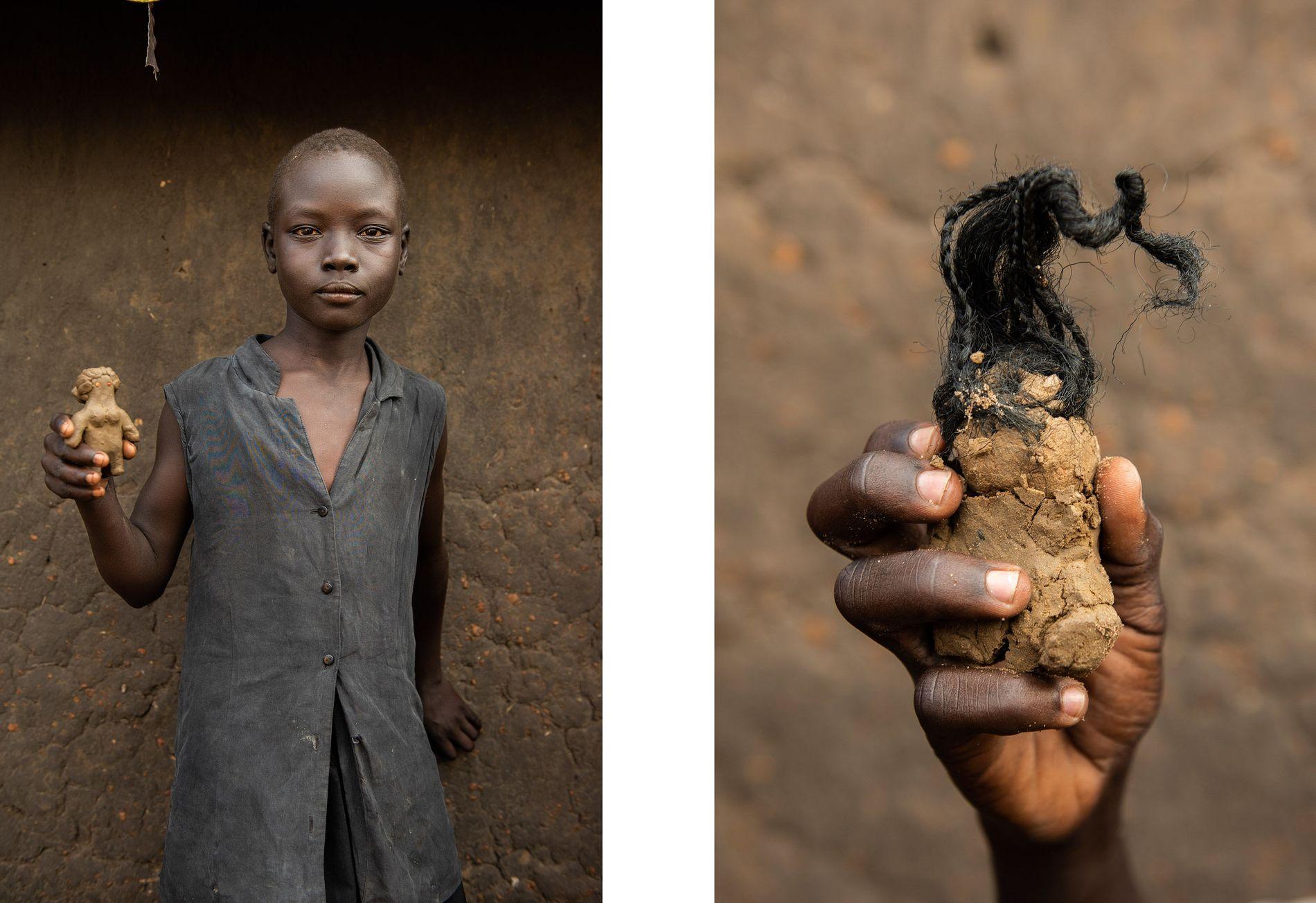 squerda: Susan James, 10 anos, segura a sua boneca de barro. Direita: Simon Ayole, 13 anos, ...