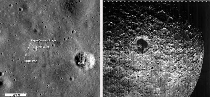 Esquerda: Em 2009, o Orbitador de Reconhecimento Lunar da NASA tirou fotografias do histórico local de ...