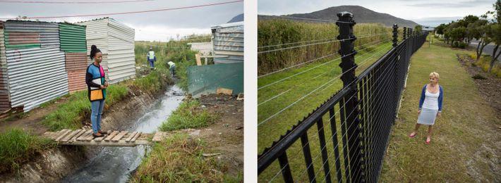 Esquerda: Asiphe Ntshongontshi vive em Masiphumelele, uma comunidade perto da Cidade do Cabo. O município ...