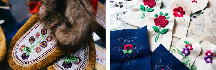 Esquerda: Um par de chinelos tradicionais Dene – feito de couro de alce, pele de castor e ...