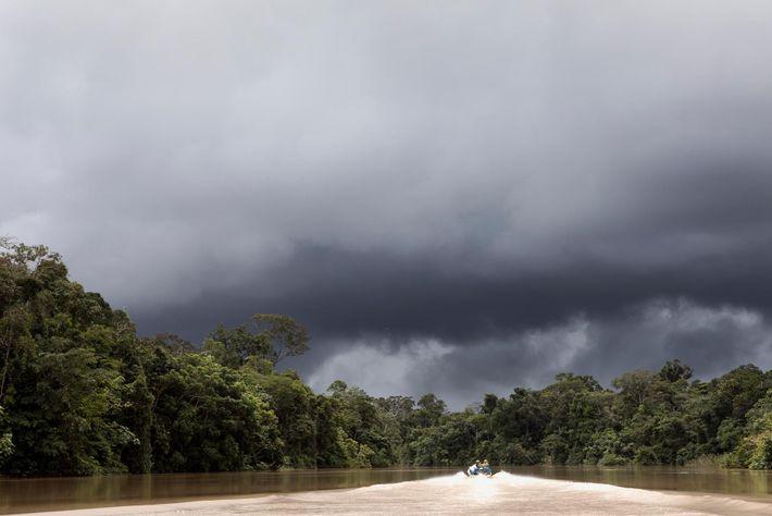 Uma equipa de investigadores da agência FUNAI (Fundação Nacional do Índio) do Brasil viaja pelo rio ...