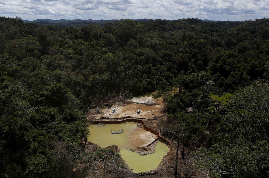 Uma operação ilegal de extração de ouro, feita em 2016, deixou as suas marcas no território ...