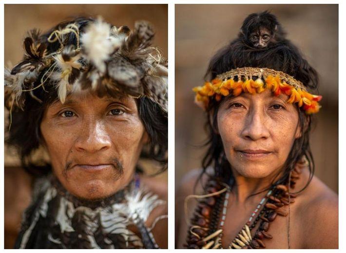 Esquerda: Takapen é um Awá que foi contactado pela primeira vez na década de 1990, mas ...