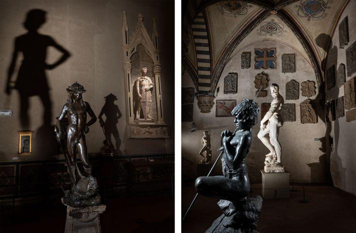 Esquerda: A estátua de David (1440) de Donatello está de sentinela no Museu Bargello de Florença. Direita: ...