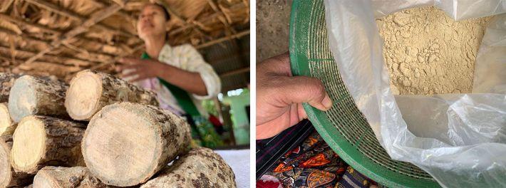 Esquerda: Daw San Tin vende thanaka na sua forma primária, numa estrada perto de Shwebo. Direita: Pó ...