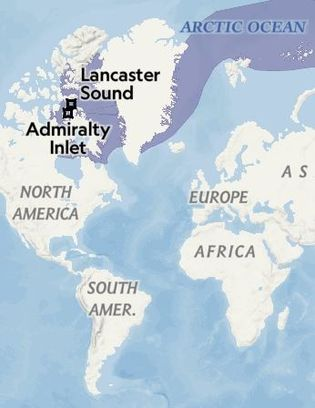 Alcance do narval (Monodon monoceros), assinalado a roxo no mapa. Fonte: IUCN